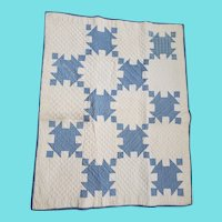 Antique Early 1900's PA. Blue & White Crib Quilt w/Signature from my Collection