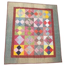 19th C. Double Sided Diamond in Block & Bars Crib Quilt from Massachusetts Collection