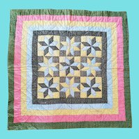 """19th C. Folk Art Double Sided Stars and """"X"""" Design Crib Quilt from my Collection"""
