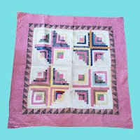 Antique 19th C. Double Sided Log Cabin and Bars Crib Quilt