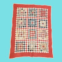 Antique 25 Patch with Red Grid Pattern Crib Quilt from my Collection
