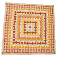 19th C. Summer Weight Trip Around the World Crib Quilt w/Beautiful Floral Fabric Backing