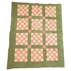 Late 19th Early 20th C. Double Sided 16 Patch & Bars Crib Quilt from my Collection