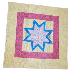 Vintage 1930's Double Sided 8 Point Star & Bars Crib Quilt w/ Double Border from my Collection