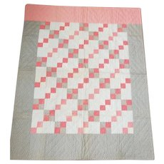 Antique Mint 4 Patch Summer Weight Crib Quilt in Early Fabrics from my Collection