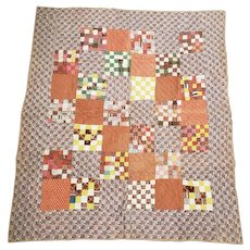 Antique ca. 1870's  36 Patch Postage Stamp Crib Quilt in Great Early Brown Fabrics from my Collection