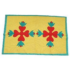 Cheerful Vintage 1930's Yellow, Red, & Green Appliqued Tulip  & Hearts Crib Quilt