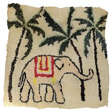Vintage Folk art Elephant & Palm Trees Hooked Chair Pad from my Collection
