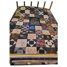Antique ca. 1900 Wool Square in Diamond & Pictorial Quilt/Comforter w/Embroidered Animals+