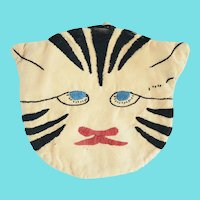 Vintage Near Mint PA. Folk Art Embroidered Grumpy Cat Pot Holder
