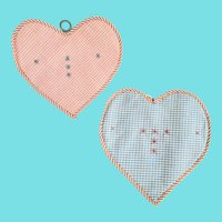 Pr. Near Mint Antique PA. Folk Art Heart Shaped Checked Fabric Pot Holders