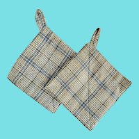 Pr. Near Mint Antique PA. Folk Art Plaid Flannel Pot Holders