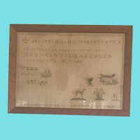 Antique Dated 1848 Sampler on Homespun Linen w/Dogs, Bird, Couple, Flowers
