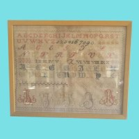 Antique Late 19th to Early 20th Century Silk on Homespun Sampler