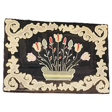 Antique Early 1900's Near Mint PA. Amish Folk Art Pot of Tulips Hooked Rug