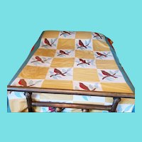 Charming Vintage 1930's Appliqued Robin Summer Quilt Bedspread from my Collection