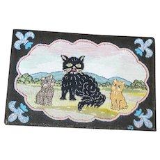 Vintage Folk Art Mama Cat & 2 Kittens Hooked Rug