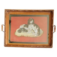 Antique Victorian Needlepoint & Beadwork Tray of 2 Spaniel Dogs on Pillow