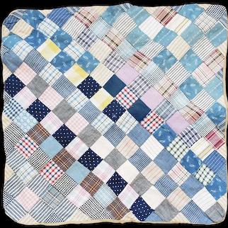 Vintage Primitive Folk Art Patchwork Doll Quilt in Early Fabrics #1
