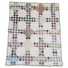 Antique Late 19th C. Primitive Folk Art 25 Patch Crib Quilt in Great Early Fabrics