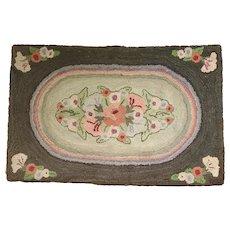 Near Mint Vintage Naive Folk Art Floral Design Hooked Rug
