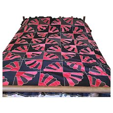 Stunning Antique Near Mint Pink Silk & Black Wool Fan Quilt w/Ruffle