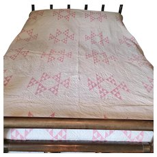 Antique Late 19th Early 20th C. PA. Double Pyramids Quilt