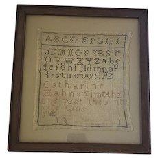 Antique 19th C. Primitive Catharine Hahn Sampler