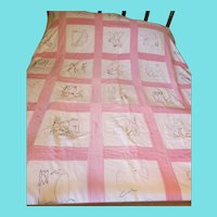 Vintage Mid 20th C. Pink & White Quilt w/Embroidered Birds