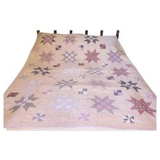 Vintage 8-Point Star Youth Quilt w/ 4-Patch & Pinwheel Patches