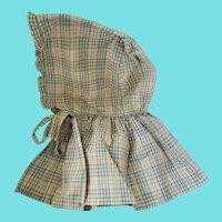 Antique PA. Light Blue & White Plaid Homespun Ladies' Pioneer Bonnet w/Long Ruffle