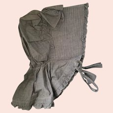 Antique PA. Gray Chambray Ladies' Pioneer Bonnet