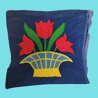 Sweet Vintage Pot of Tulips Velvet Hooked Pillow Cover