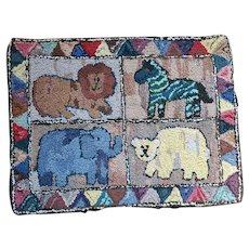 Vintage Folk Art Hooked Rug w/4 Animals from Noted Collection #1