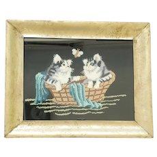 Sweet Vintage Framed Punchwork Depiction of 2 Kittens in Basket Watching Bee
