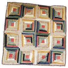 """Vintage 30 1/2"""" Square Log Cabin Crib Quilt"""