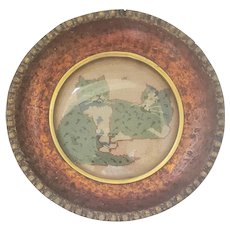 Diminutive Antique Framed Petit Point Depiction of 2 Teal Cats & Fly