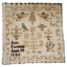 Antique 1848 Ann Furnival Sampler w/Angels, Birds, Dogs, Flowers +