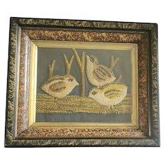 Early 1900's Stumpwork on Velvet 3 Baby Chicks Faux Painted Frame