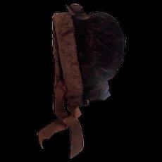 19th C. Hand Made Winter Bonnet Made of Velvet With Mohair Trim