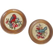 Pair of Diminutive Vintage Mid 20th Century Hand Hooked Bird Pictures