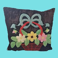Vintage 1940's Stumpwork Basket of Flowers Pillow