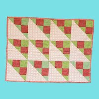 Antique Early 1900's Double Sided Newborn Crib/Doll Quilt in Early Fabrics