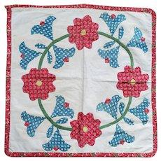 Antique PA. Folk Art Appliqued Floral Wreath Crib or Doll Quilt