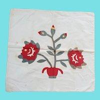 Antique PA. Folk Art Appliqued Pot of Flowers Pillow Cover