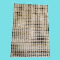 Antique PA. Blue, Yellow, Black, & Natural Plaid Homespun Dish Towel
