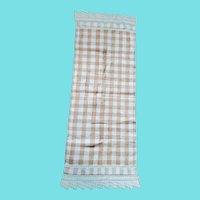 Antique PA. Butterscotch Plaid Homespun Show Towel w/Crocheted Details