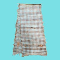 Antique PA. Butterscotch Plaid  Homespun Show Towel w/Draw Work & Fringe