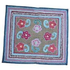 Cheerful Vintage Folk Art Floral Hooked Rug w/Striped Border