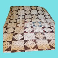 19th C. Center Medallion Pattern Poster Bed Quilt in Early Calicoes & Prints